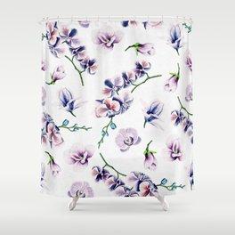 Lavender Blossom Floral Pattern Shower Curtain
