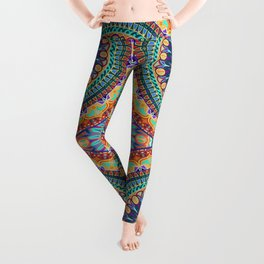 Colorful abstract ethnic floral mandala pattern design Leggings