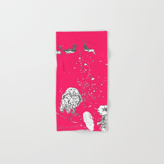 Two Tailed Duck and Jellyfish Bright Red Pink Hand & Bath Towel
