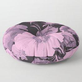 Pink florals on dark background vintage pattern Floor Pillow