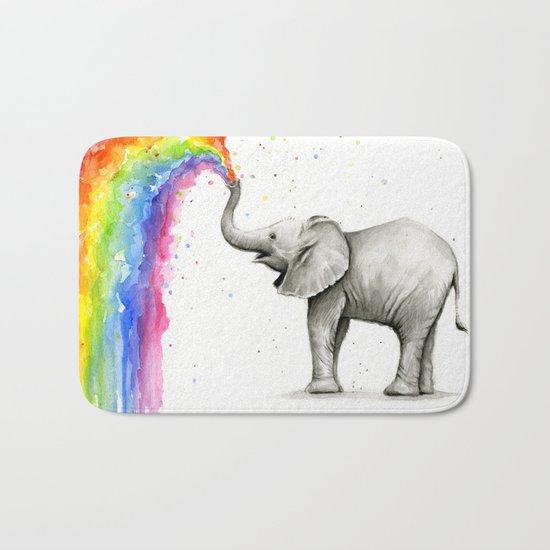 Baby Elephant Spraying Rainbow Whimsical Animals Bath Mat