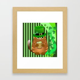 Sint Patrick's day cat with green top hat and drinking beer Framed Art Print