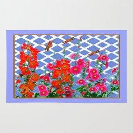 White Lattice Hollyhocks Dragonflies Garden In Blue Rug