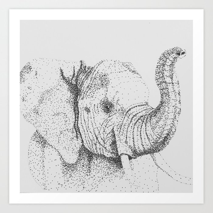 Dotted Elephant Art Print