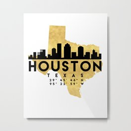 HOUSTON TEXAS SILHOUETTE SKYLINE MAP ART Metal Print