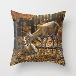 Whitetail Deer and Fawn in Autumn Throw Pillow