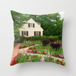 Cottage Garden - Colonial Williamsburg Throw Pillow