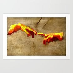 Michelangelo hands. Pixelation Art Print