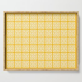 Amber Yellow Greek Key Pattern Serving Tray