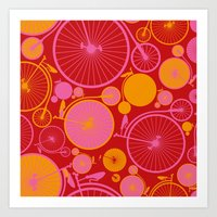 bikes Art Prints featuring Bikes by Helene Michau