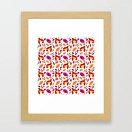 Pretty beautiful cute little birds, orange red delicate leaves, plants seamless pattern. Warm colors Framed Art Print