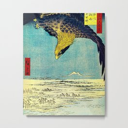 Hiroshige, Hawk Flight Over Field Metal Print