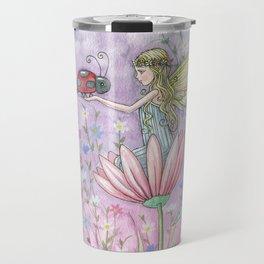 A Friendly Encounter Fairy and Ladybug Art by Molly Harrison Travel Mug