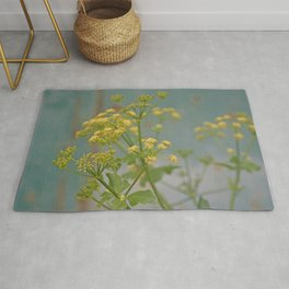 Yellow wildflowers on blue rusty metal Rug