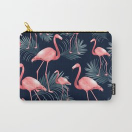 Summer Flamingo Palm Night Vibes #1 #tropical #decor #art #society6 Carry-All Pouch