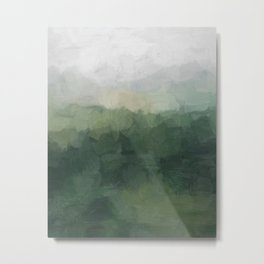 Gray Fog Green Hills Abstract Nature Scenic Painting Art Print Wall Decor  Metal Print