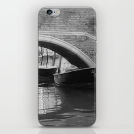 the boats sit quietly in the Venice Canals; black and white photography iPhone Skin