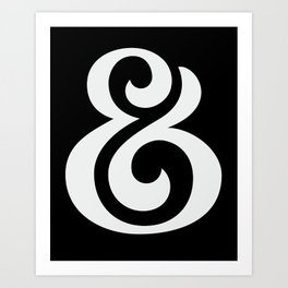 Ampersand II White on Black Art Print
