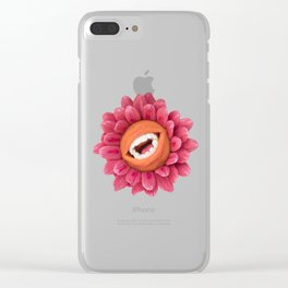 Say Cheese! Infectious Laughing Flower in Orange and Pink | Surrealistic Art | PetitPlat.fr Clear iPhone Case