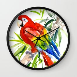 Scarlet Macaw, jungle tropical home decor bright colored parrot foliage Wall Clock