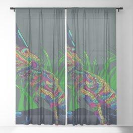 Colorful Lizard Sheer Curtain
