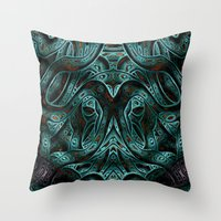 viking Throw Pillows featuring Viking by RingWaveArt