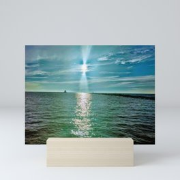 The sky is a beautiful place and so is the lake Mini Art Print