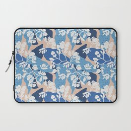 Blue layered floral on a taupe base Laptop Sleeve