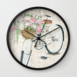 White bike & roses Wall Clock