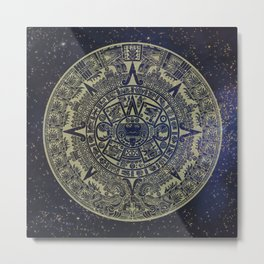 Ancient Aztec Calendar Metal Print