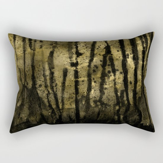 Black and Gold grunge modern abstract ink backround Rectangular Pillow