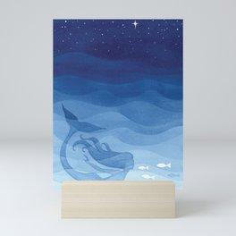 Mermaid, watercolor, blue, fish Mini Art Print