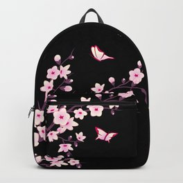 Cherry Blossom Pink Black Backpack