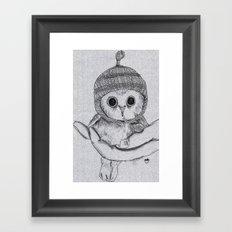 Bobble Hat Owl Framed Art Print