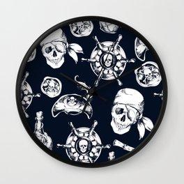 Navy Blue Pirate Pattern Wall Clock