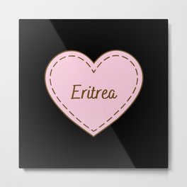 I Love Eritrea Simple Heart Design Metal Print