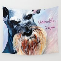 schnauzer Wall Tapestries featuring Schnauzer, Salt and Pepper  by A Calcines