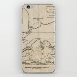 Vintage Map of Martha's Vineyard (1782) iPhone Skin
