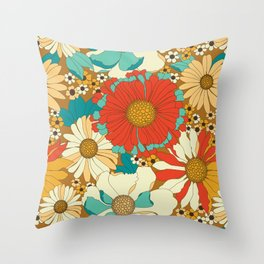 Red, Orange, Turquoise & Brown Retro Floral Pattern Throw Pillow