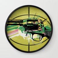 gun Wall Clocks featuring gun by mark ashkenazi