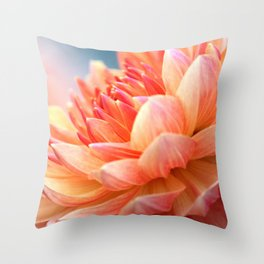Dahlia Glow Macro Throw Pillow