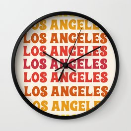 Los Angeles - retro vibes throwback minimal typography 70s colors 1970's LA Wall Clock