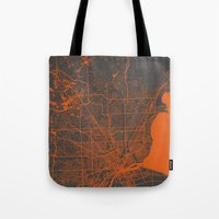 detroit Tote Bags featuring Detroit map by Map Map Maps