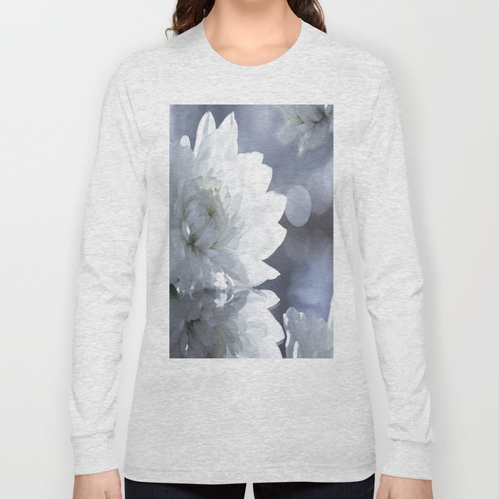 White flower with bokeh on a grey background included wonderful light Long Sleeve T-shirt