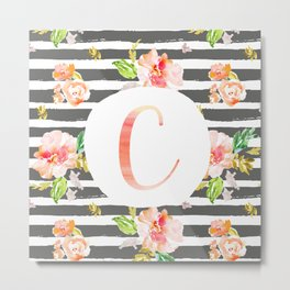 C botanical monogram. Letter initial with colorful flowers and gray stripes Metal Print