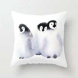 Fluffy Penguins - Baby Animals Throw Pillow