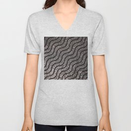 Silver Glitter With Black Squiggles Pattern Unisex V-Neck