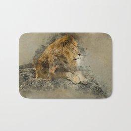 Lion on the rocks Bath Mat