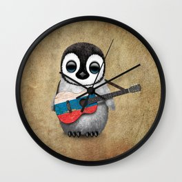 Baby Penguin Playing Russian Flag Guitar Wall Clock