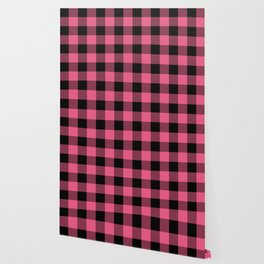 Pink & Black Buffalo Plaid Wallpaper